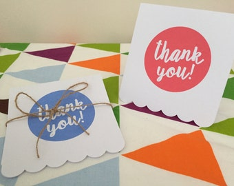 5 pack thank you cards - selection of colours