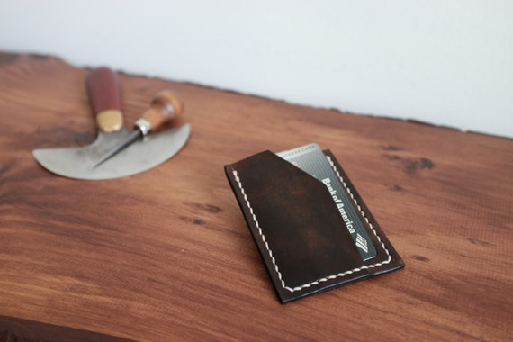 Leather Slim Card Wallet Handcrafted Mens Wallet Leather