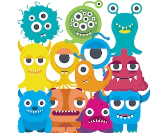 Funny cute monsters clipart