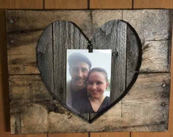 Rustic Heart Picture Holder Frame, Heart Picture Frame, Wooden Picture Frame, Rustic Frame, Valentines Day Picture Frame