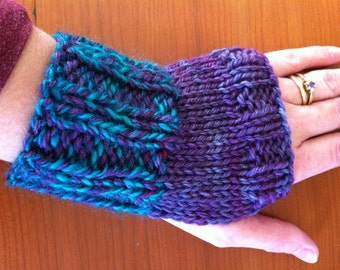 Purple, Blue & Green Fingerless Gloves