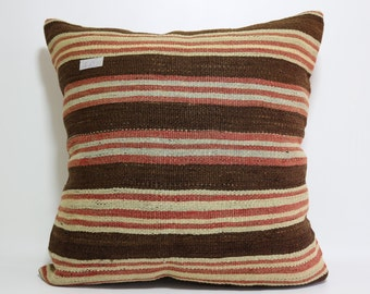 Striped Kilim Pillow 24x24 Sofa Pillow Multicolor Kilim Pillow Boho Pillow Colorful Kilim Cushion Cover Large Floor Pillow SP6060-480
