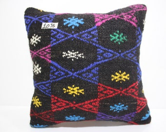 "Decorative Kilim Pillow 16x16 Handwoven Turkish Kilim Pillow 16""x16"" Kilim Cushion Cover Blue Pillow Cover Black Pillow Cover SP4040-1035"