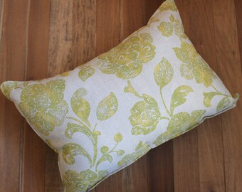 Green Harringbone and Flower Throw Pillow