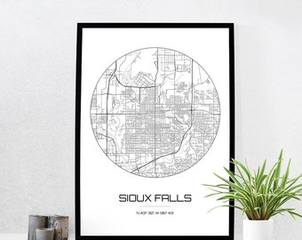 Sioux Falls Map Print - City Map Art of Sioux Falls South Dakota Poster - Coordinates Wall Art Gift - Travel Map - Office Home Decor