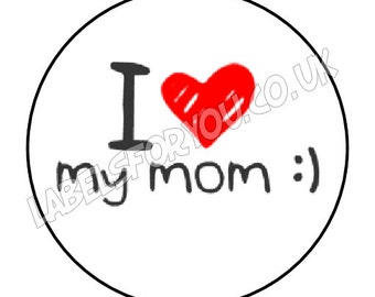 35 x 37mm Personalised Mothers Day I Love My Mom / Mum Logo Stickers Labels