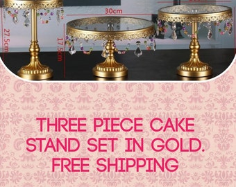 Gold Cake stand  gold 3 piece cake stands set 3 fabulous  set free shipping