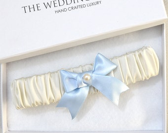 Wedding Garter, Bridal Garter, Ivory Garter, Blue Wedding Garter, Ivory Wedding Garter, Satin Garter, Garter, Blue Garter, Something Blue