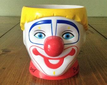Vintage 80s Barnum & Bailey Circus Clown Mug Yellow Blue Red Coffee Tea