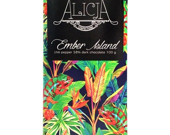 "Postcard Chocolate Handmade Artisan Chocolate Bar ""Ember Island"" 58% Dark Chocolate Bar 100 grams Unique Flavors - Chili, Cinnamon, Paprika"