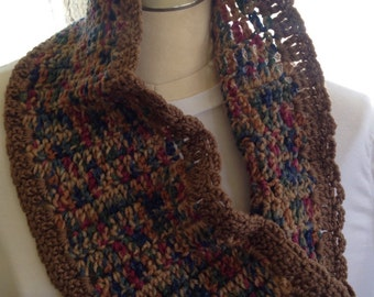 Jewel tone and brown crochet cowl   Infinity scarf