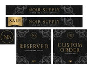 Etsy Shop Premade Banner Set - Luxury Theme Banner Set - Black and Gold Etsy Banner Set - Jewelry Shop Banner Set - Lingerie Shop Banner Set