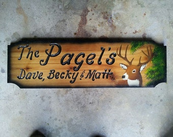 "Handmade Personalized Custom 8""x24"" Wildlife Buck Carved Cabin Wood Sign, Made to Order"