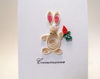 Baby card,bunny card,easter card,congratulations card,baby shower card,new parents card,new grandparents card,newborn card,rabbit card