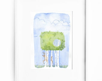 Watercolor print, illustration, wall decor, trees, deer grazing, intrigue mystery whimsy - Amongst the trees no. 3