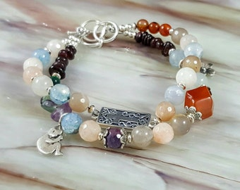 Sterling Silver Pregnancy/Childbirth Cross Love Bracelet w Gemstones &Baby fetus charm