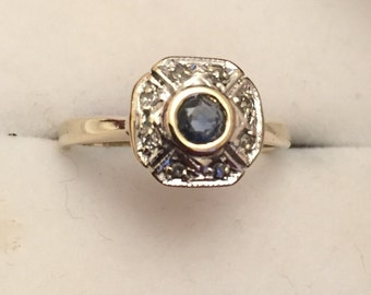 Antique 9ct gold ring sapphire & diamonds ## REDUCED ##