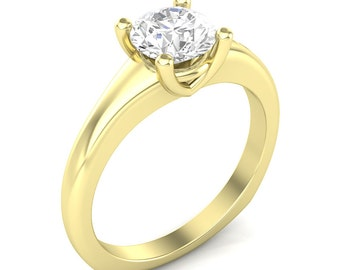 Yellow Gold Engagement Ring Solitaire Ring Semi Mount for 1.0ct Round Center Brand New 14K Setting Only