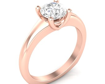 Rose Gold Engagement Ring Solitaire Ring Semi Mount for 1.0ct Round Center Brand New 14K Setting Only