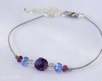 Adjustable wire waxed polyester, silver, metal beads bracelet in Crystal and cracked glass