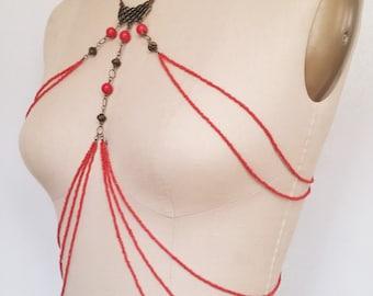 Red Beaded Body Jewelry