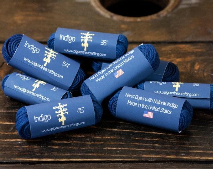 """Indigo Dyed Flat Shoelaces Made in USA 36"""", 45"""", 54"""", 63"""""""