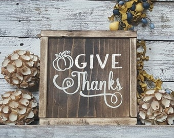 Framed Give thanks sign, fall decor, rustic fall, rustic fall decor, give thanks farmhouse sign, farmhouse fall sign, rustic fall decor