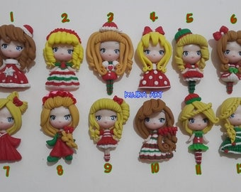 Christmas Clay Doll for Decoden or other Craft (Keychain, Bagcharm, etc)
