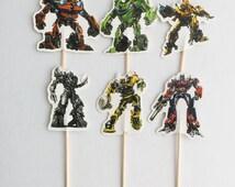 12pcs Transformers Cupcake Topper Picks. Food Picks