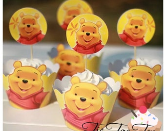 12pcs Winnie The Pooh Cupcake Toppers + Wrappers. Party Supplies