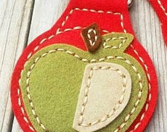 Felt Keychain, Apple Keychain, Handmade Keychain,  Apple Key Ring, Key Ring, Felt Key Ring, Handmade Key Ring