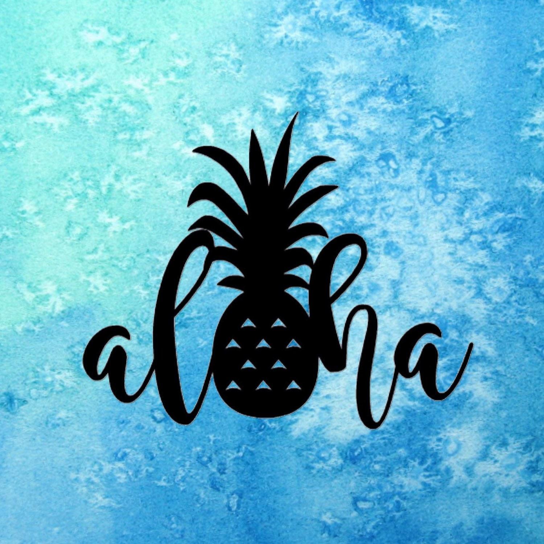 Aloha Pineapple Sticker ~ Hawaii Sticker ~ Pineapple Sticker ~ Hawaii Decal ~ Aloha Pineapple Decal