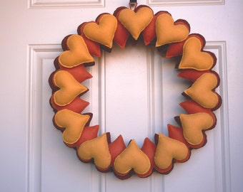 Autumn Wreath, Autumn Decor, Heart Felt, Door Decor, Heart Wreath, Heart Decor, Autumn Home Decoration, Autumn Gift, Autumn Heart