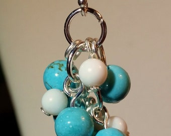 Turquoise Howlite and mother of pearl bauble earrings onetwelvejewelry