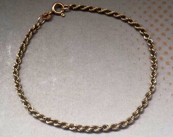 14K Yellow Gold Rope Bracelet