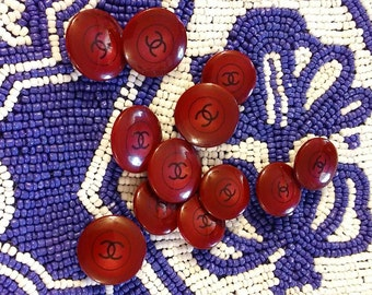 Set of 6 Scarlet Resin CHANEL Authentic Buttons Available in 2 SIZES