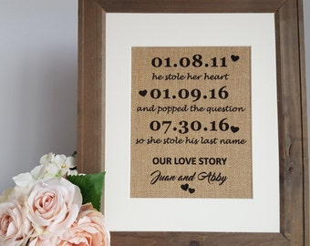 Burlap Wedding - Rustic Wedding Sign - He Stole Her Heart - Our Love Story - Engagement Gift Sign - Bridal Shower Gift - Burlap Wall Art