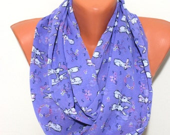 Rabbit Scarf Infinity Scarf Purple Bunny Scarf Animal Print Scarf Women Fashion Accessories Gifts For Her