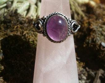 Amethyst Silver Gypsy Ring
