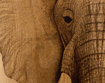 Pointillism pyrography elephant giclee fine art print, African wildlife wall art, limited edition signed dotwork elephant fine art wall art