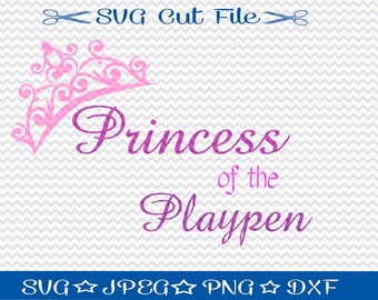 Princess of the Playpen SVG File / SVG Cut File /  SVG Download / Silhouette Cameo / Digital Download / Little Girl svg