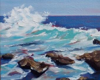Ocean Waves at Laguna Beach, California, Original Oil Painting