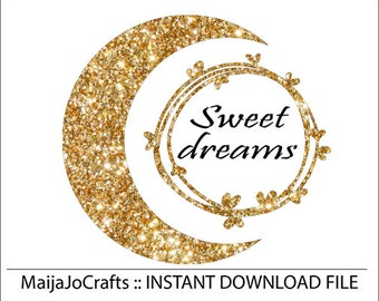 Sweet Dreams SVG File, SVG Cut File, Bedroom Decal, Cricut designs, Quote Overlay,  Cricut downloads, Silhouette Cameo designs, cute svg