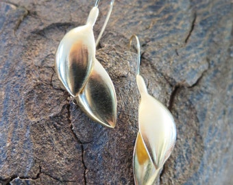 silver or gold plated brass creek earrings, free shipping world wide!