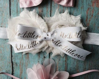Sweet Newborn Baby Girl Satin & Chiffon Headband Gift Set