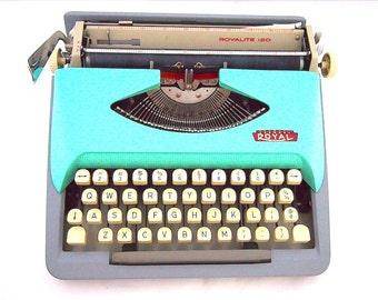 Royal Royalite typewriter, 1965, Royalite 120, green blue typewriter, custom made, working typewriter, portable, turquoise, Holland.