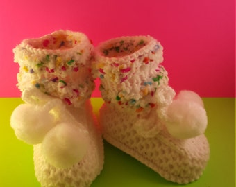 White Baby booties with pom poms