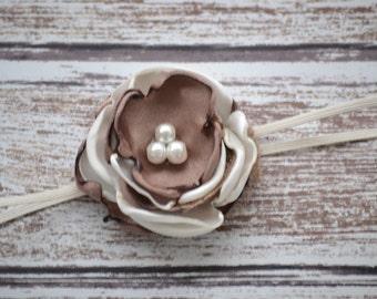 Newborn Coffee and Cream Headband, Newborn Headband