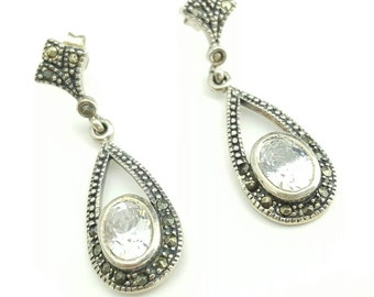 Vintage Marcasite and CZ Sterling Silver Drop Earrings