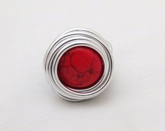 Red Ring, Silver Ring, Silver Wire Wrapped Ring, Wire Wrapped Ring, Red Wire Ring, Adjustable Ring, Bridesmaid Ring, Stylish Ring, Statment